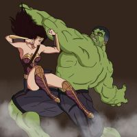 Wonder Woman v Hulk by Datjiveturkey