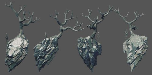 Rock island with tree wip by Anuxinamoon