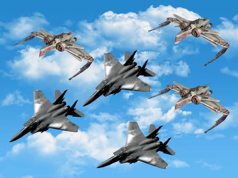GAJA ARC-170 Fighters and F-15 Jet fighters by darthraner83
