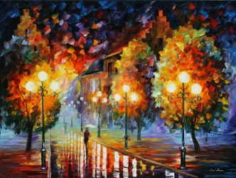 Rain In The Night City by Leonid Afremov by Leonidafremov