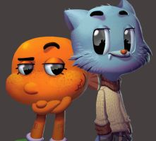 One face a day #54/365. Gumball and Darwin by Dylean