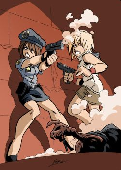 Jill saves Heather by NachoMon