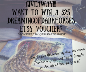 June GIVEAWAY!!Wina $25 voucher for my etsy store! by DreamingofDarkhorses