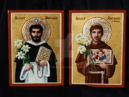 St. Dominic and St. Anthony of Padua icons by Theophilia
