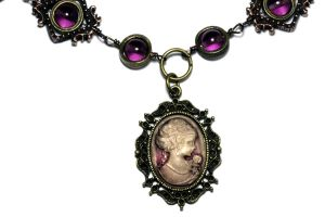 Victorian - Antique Fuchsia Cameo Necklace by CatherinetteRings