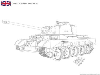 :WIP: A34 Comet Cruiser Tank - Lineart v2.17 by KodyYoung