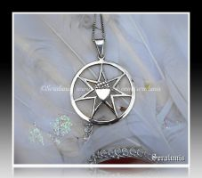 'Elven star from the forest' silver pendant by seralune