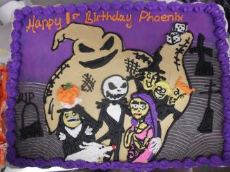 nightmare before christmas birthday cake by nickolaswand on deviantart
