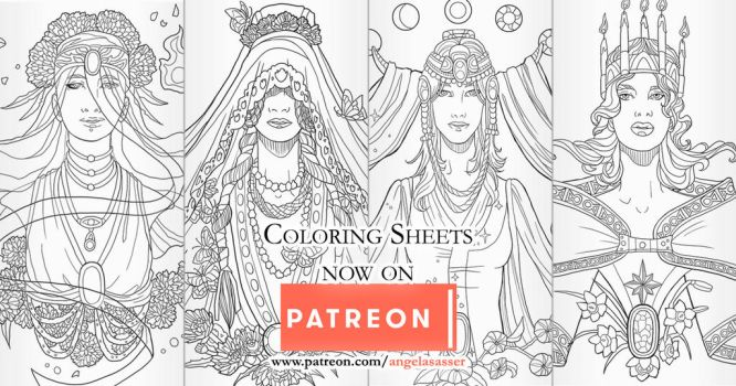 Birthstone Banner Coloring Pages on Patreon by AngelaSasser