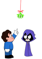 Rae Rae and Steven under the mistletoe by Magnetic-LightPulse