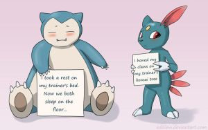 Pokeshaming - Snorlax and Sneasel by eddiew