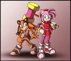 Amy rose and Sticks the badger WIP by zeiram0034
