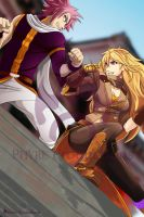 Yang Xiao Long Vs. Natsu Dragoneel by J13Productions