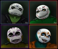 Day of the Dead TMNTs together by Myrcury-Art
