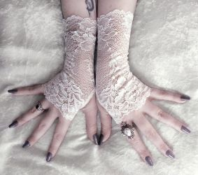 Nephele Long Lace Fingerless Gloves by ZenAndCoffee