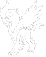 Lineart Of MegaAbsol By InuKawaiiLover