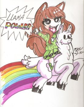Inktober Final Day Kona and the Llama Power! by osukaru-kun