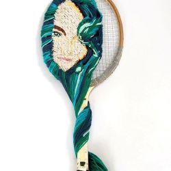 Portrait of Young Girl on Tennis Racquet. by silverscape