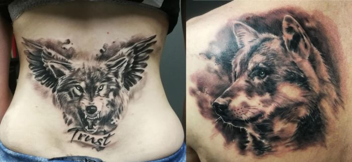 Yet more wolf tattoos by tuomaskoivurinne