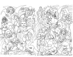 SCU Heroes lineart inked and scanned by gammaknight