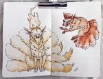 Ninetails and Vulpix by multi-mutt