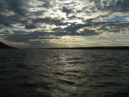 Crossing Volga in the evening by mirator