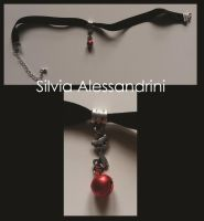 Red bell cat choker by SilvieTepes