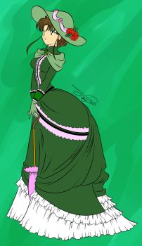 Colored lineart - Vintage Lady Makoto by animewiccan725