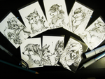 ACEO sketch commissions in pen by Capukat