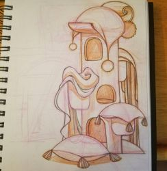 cat tower prop design sketch by snuapril01