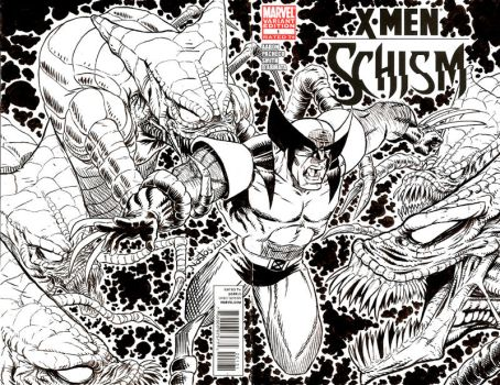 Wolverine vs the Brood Sketch Cover by ElfSong-Mat