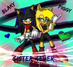Blaky and my sis Piggy (or Ciara) by BlakyBlaze28