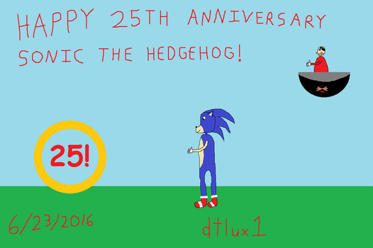 Happy 25th Anniversary Sonic the Hedgehog! by dtlux2