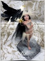 Eagle Huntress #89 OOAK Sculpture Art Doll by bornbrightdolls