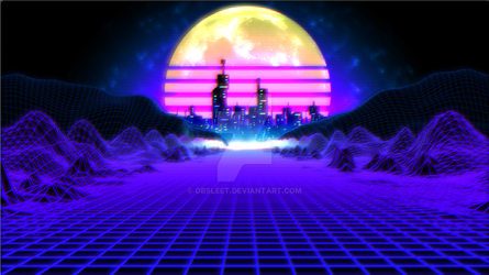 Retro Grid landscape with city and moon by obsleet