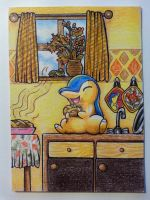 Cyndaquil eating a slice of applepie -ArtCard-