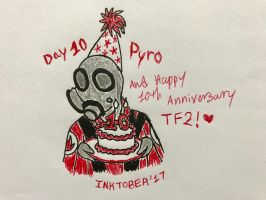 Inktober Day 10- Pyro/10 years by Revenir-Ghoul