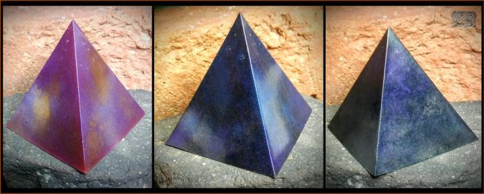 cast resin galaxy pyramids by CopperCentipede