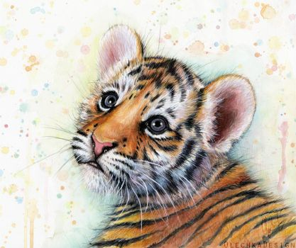 Tiger Cub Watercolor | Baby Animals by Olechka01