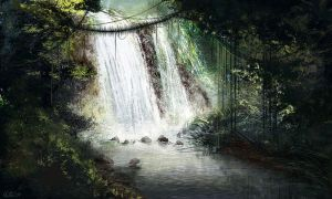 Jungle waterfall by AppleSin