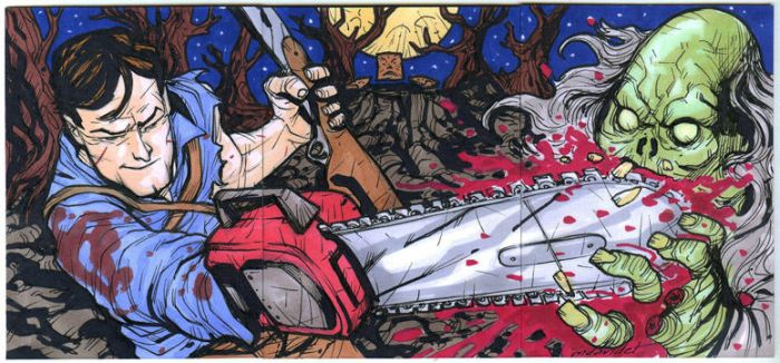 Army of Darkness 3 sketch card puzzle ACEO by mdavidct