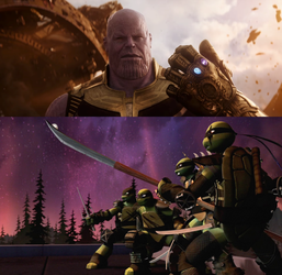 The Ninja Turtles confronting Thanos by Wildcat1999