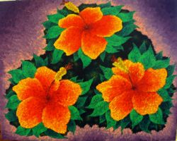 Three Orange Hibiscus' (Commissioned - Sold) by Dunn95