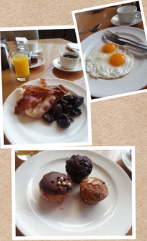 Streaky Bacon, Eggs, Muffins and Mushrooms by nosugarjustanger