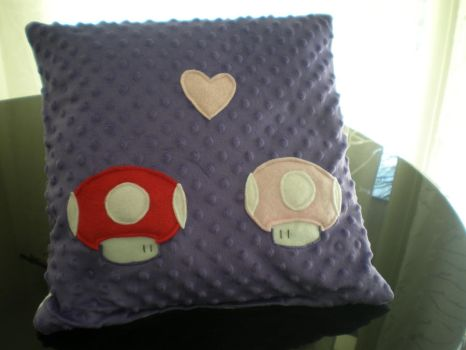 Prple Mushrooms in Love Pillow by Omonomopoeia