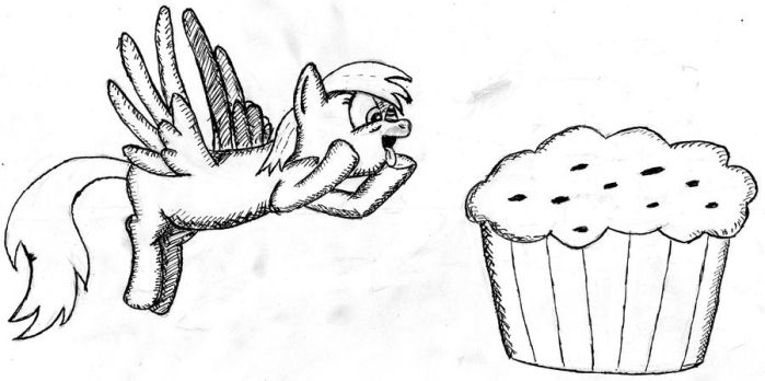 Derpy with a huge muffin by Bubim