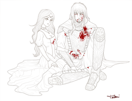 My Hero is dying   Line Art by takemina