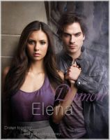 Damon and Elena by deFanel