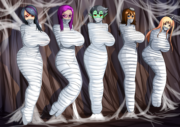 Request group: 5 girl in spiderweb by otaku100100
