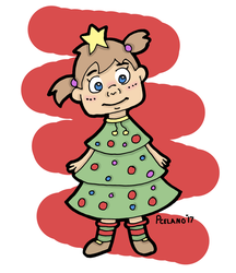 Little Girl Dressed As A Christmas Tree by chelano